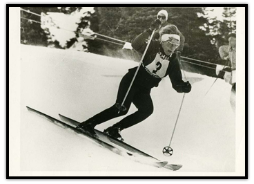 Anne Heggtveit skiing down a hill