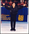 Elvis Stojko smiles to the crowd at the Canadian Figure Skating Championships