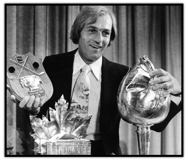 Guy Lafleur wins the Art Ross, Conn Smythe and Hart trophies
