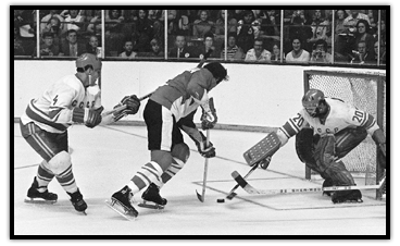 Phil Esposito about to score in the Summit Series